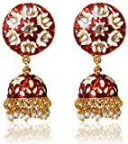 Sansar India Meenakari Jhumka Indian Earrings Jewelry for Girls and Women