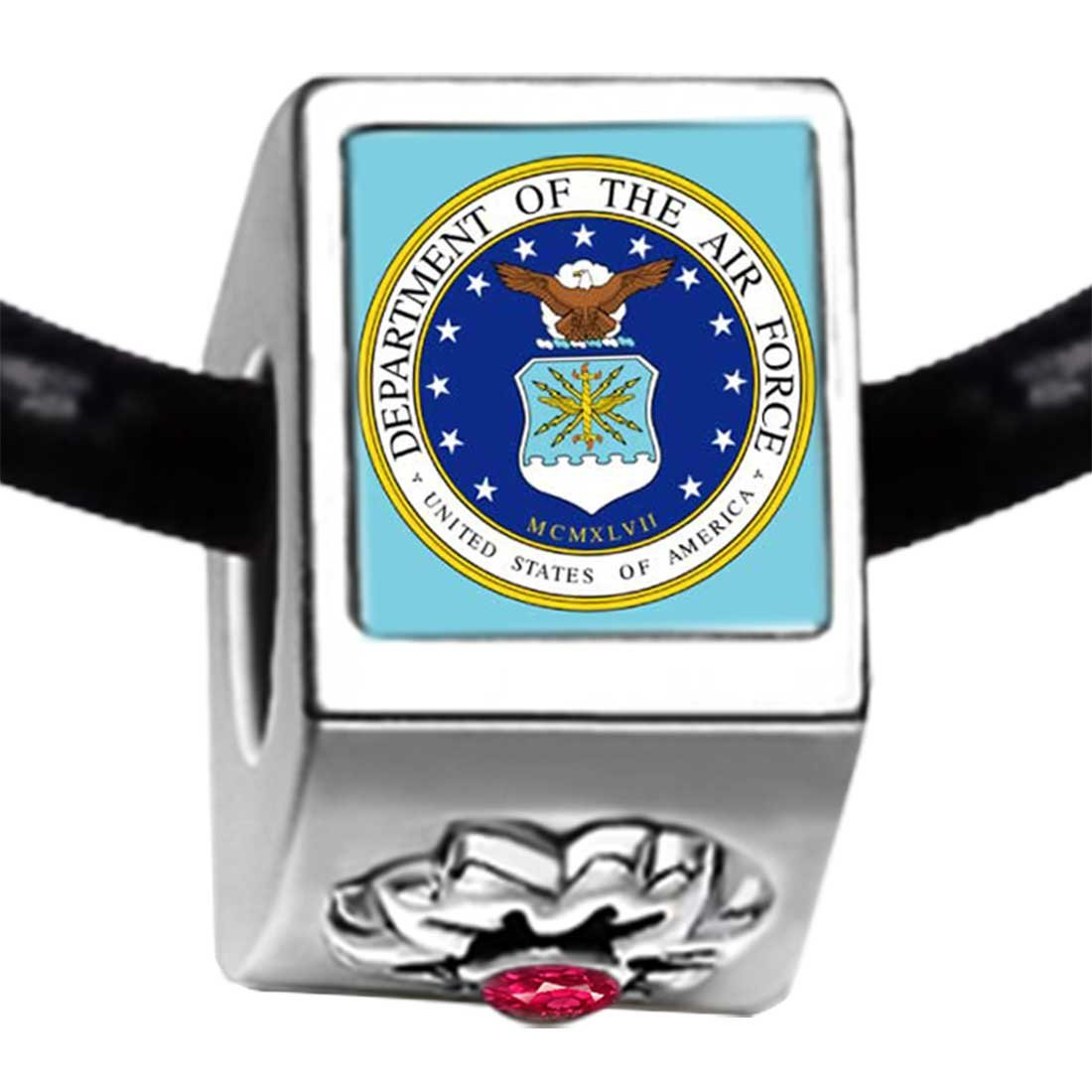 GiftJewelryShop Phrase Seal of The Us Air Force Red Zircon Crystal July Birthstone Flower Bead Charm Bracelets