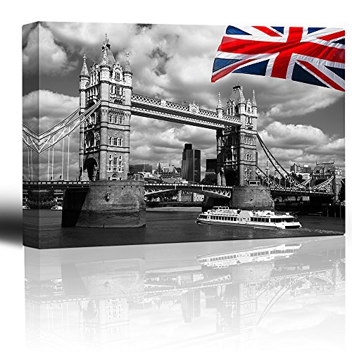 London Tower Bridge with Colored British Flag Wall Decor ation