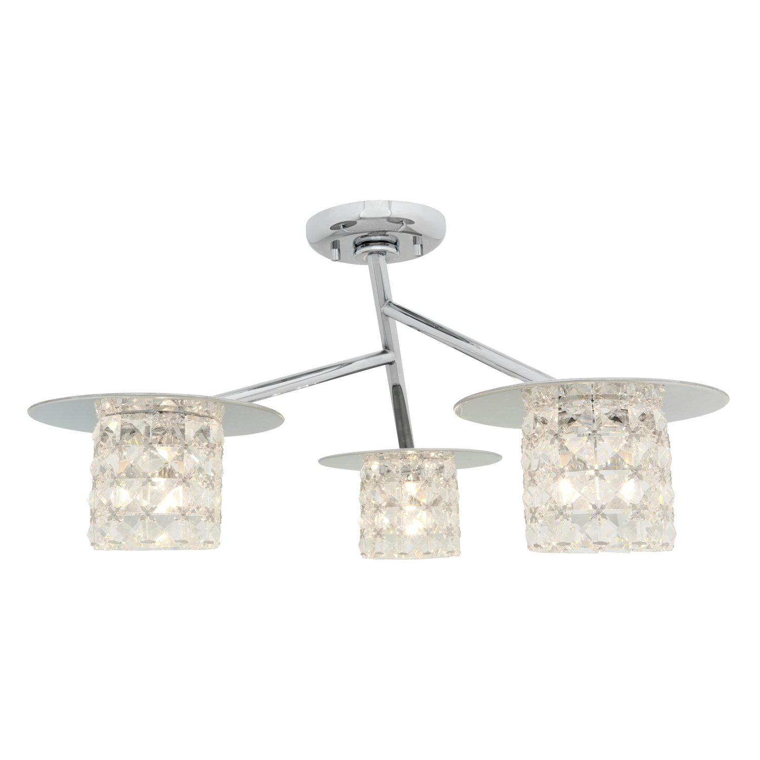 Access Lighting 23924-CH//CCL Prizm Three Light Semi Flush with Clear Crystal Glass Shade Chrome Finish