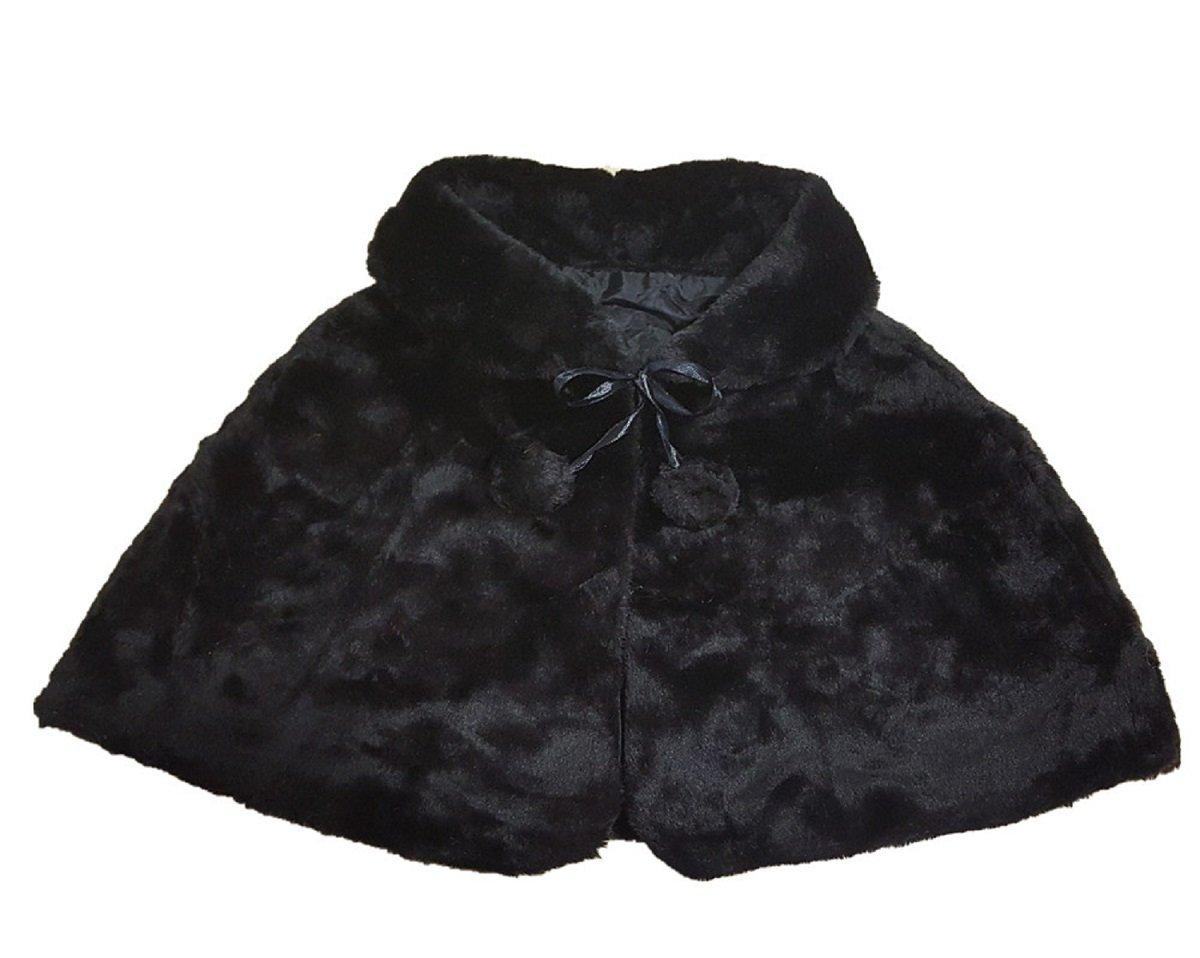 Shop Ginger Wedding Flower Girl Black Faux Fur Stole Shawl Wraps Cape Kids Communion C1