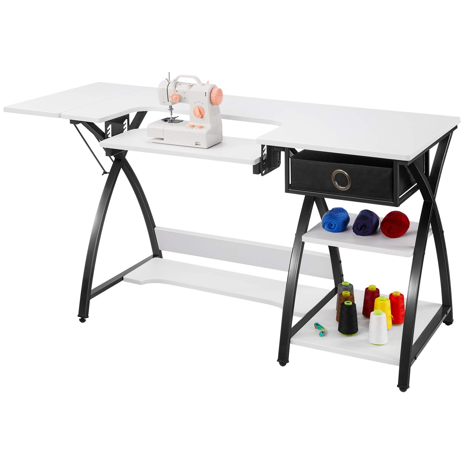Sewing Table Adjustable Sewing Craft Table with Drawer and Shelves, Sturdy Sewing Desk Multipurpose Computer Desk,57.1×23.6×29.9 inches White by kealive