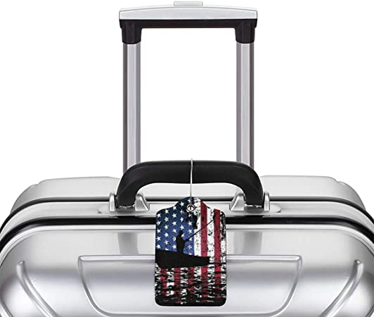 GoldK American Flag Fishing Leather Luggage Tags Baggage Bag Instrument Tag Travel Labels Accessories with Privacy Cover