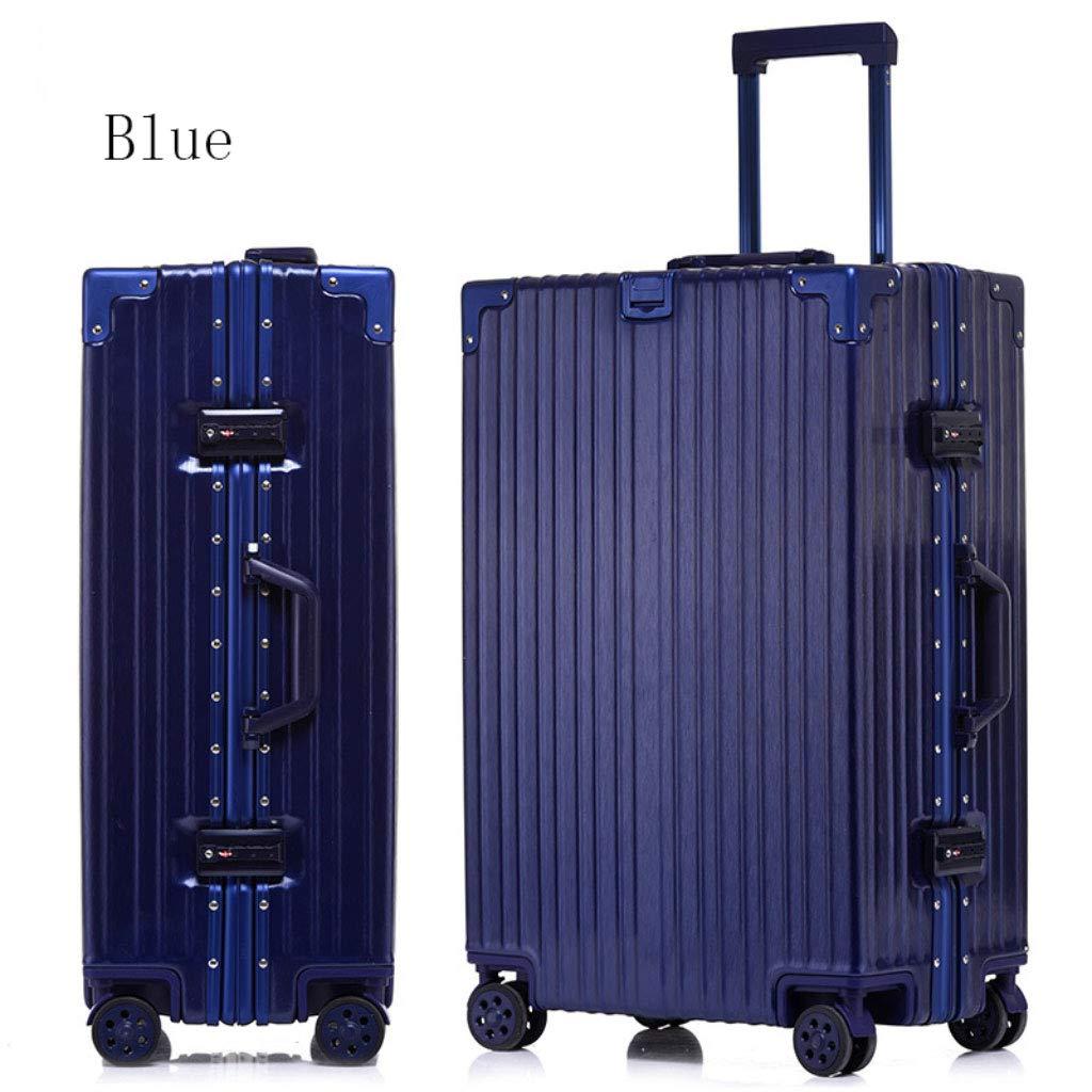 アルミフレームトローリーケースパスワードロックスーツケースユニバーサルホイール荷物のスーツケース (Color : 青, Size : 26 inches)   B07R7SBCNN