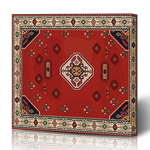 Canvas Flooring Mosaic - Ahawoso Canvas Prints Wall Art 16x16 Inches Flooring Vintage Persian Carpet Tribal Easy Floor Palace Abstract Arabesque Border Decor for Living Room Office Bedroom