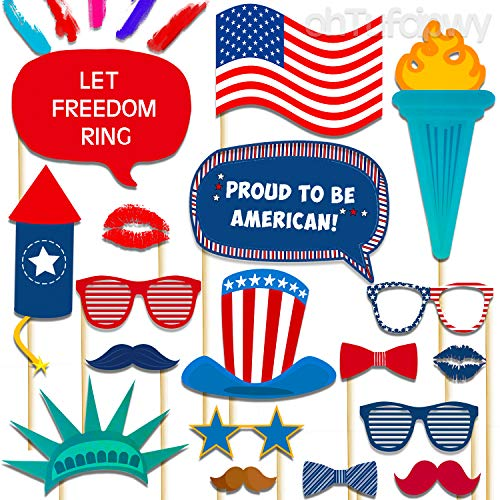 4th of July Photo Booth Props - Independence Day Patriotic Photo Props - American, USA, Red, White, Blue, Patriotic, labor Day, Veterans Day Decor - Back to School Decorations - Summer Party Props
