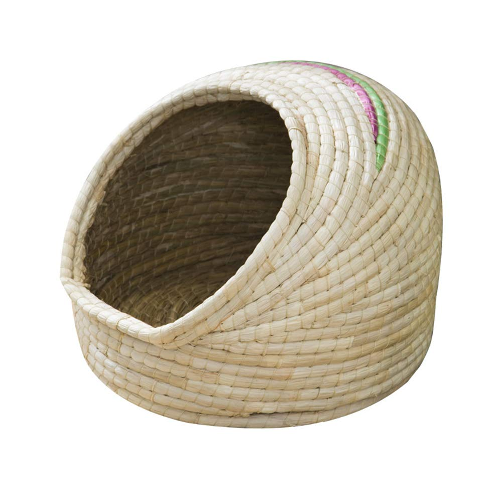 Vlook Cat nest Pet Bed Cats House Straw Corn Husk Natural Hand-Made Detachable Health and Environmental Predection Breathable Good for Cats and Dogs Rabbit
