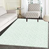 Luau Customize Floor mats for home Mat Flourish Pattern with Blossoming Hibiscus Flowers Springtime in Hawaii Theme Oriental Floor and Carpets 3'x5' Mint Green White