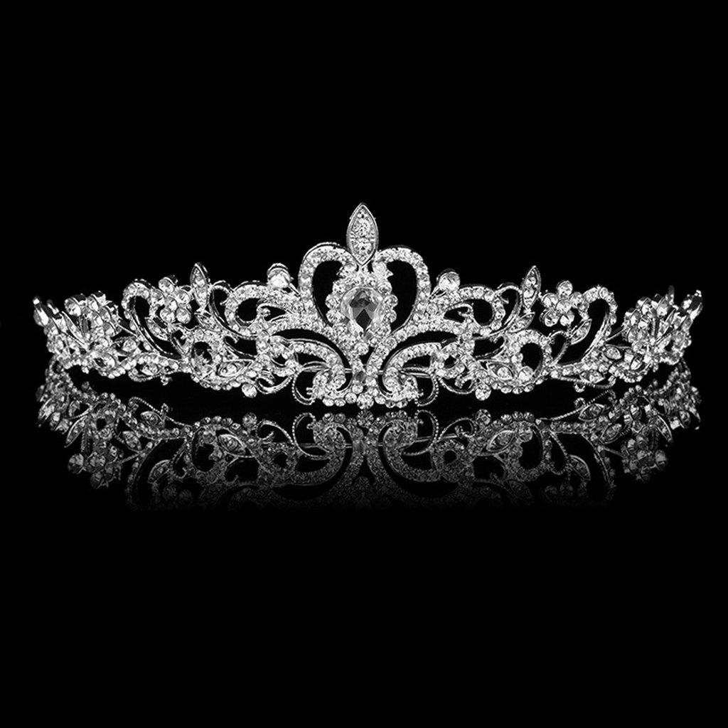 Diadema Corona Tiara Flor Cristal Diamante De Imitacion Para Fiesta Boda Novia SODIAL (R) generico