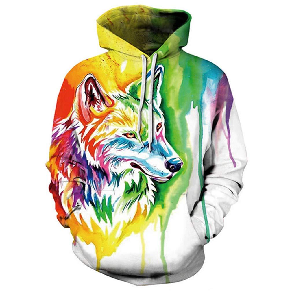3D Print Lion Sweatshirt Casual Off White Pullover Animal Hoodie