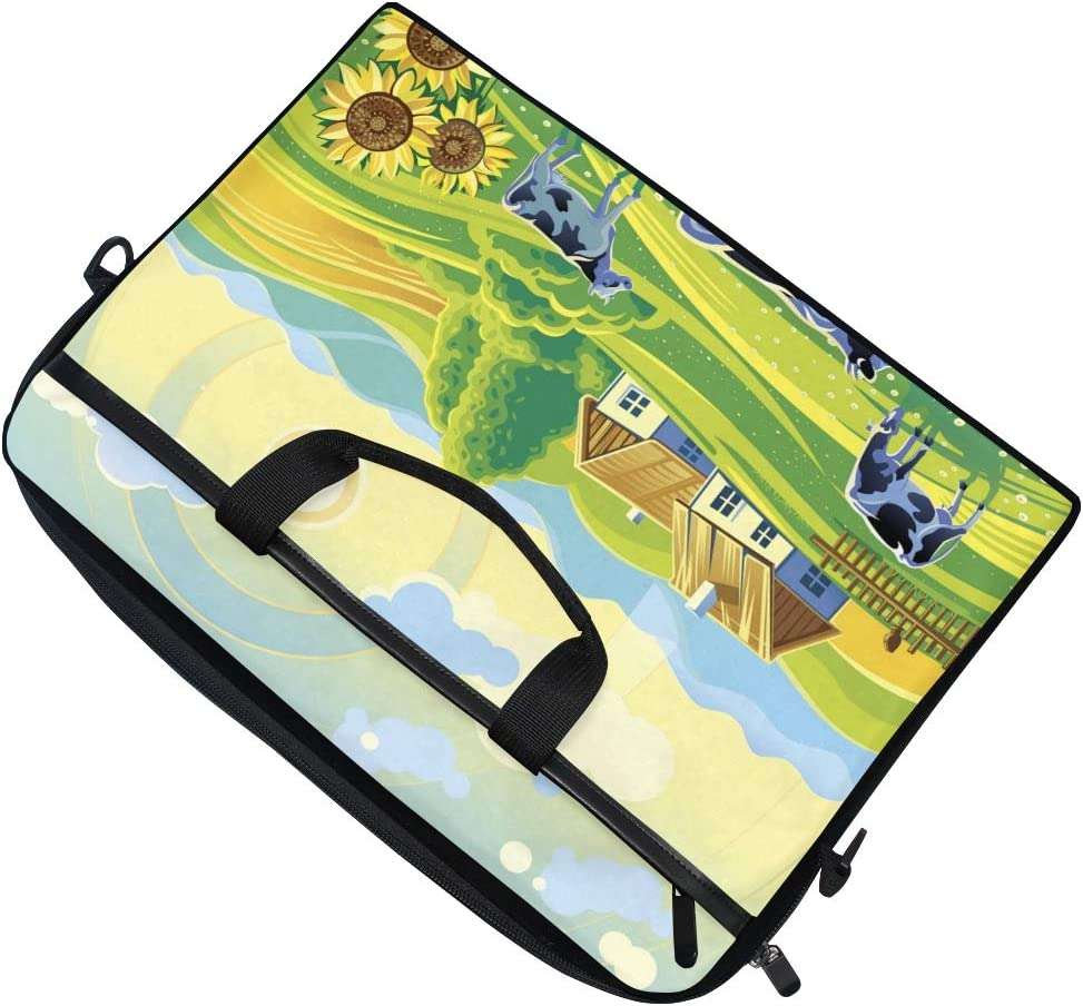 Farm Countryside Cow Sunflower Laptop Shoulder Messenger Bag Computer Briefcase Business Notebook Sleeve Cover Carrying Handle Bag for 14 inch to 15 inch