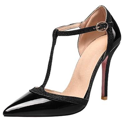 RAZAMAZA Damen Stiletto T-Spange Sandalen Schuhe