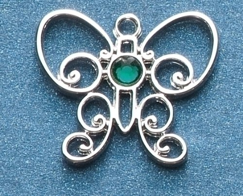 UPC 762152177923, Pack of 8 Jeweled Silver Scroll Butterfly May Birthstone Pins 1""