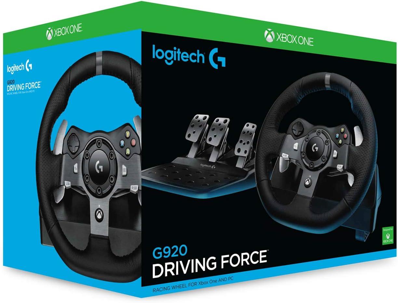 Logitech G920 Driving Force Volante de Carreras y Pedales, Force Feedback, Aluminio Anodizado, Palancas de cambio, Volante de Cuero, Pedales Ajustables, Enchufe UK, Xbox One/PC/Mac , Negro: Amazon.es: Informática