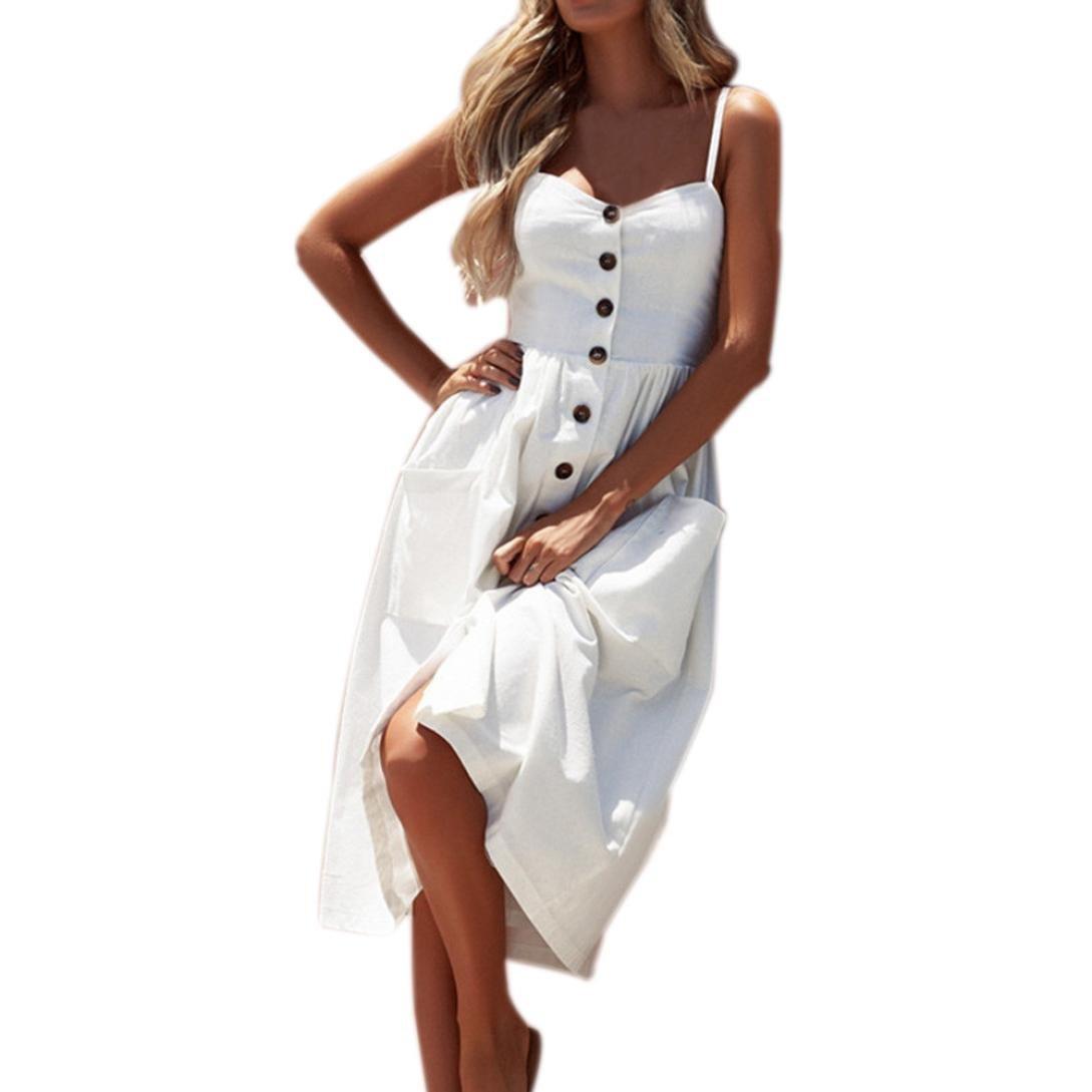 vermers Women Summer Sexy Dresses, Buttons Solid Off Shoulder Sleeveless Princess Dress (XL, White)