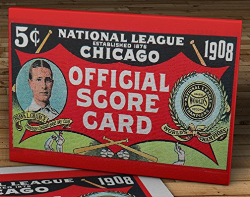 1908 Vintage Chicago Cubs Scorecard - World Champions - Canvas Gallery Wrap - 20 x 10 ()