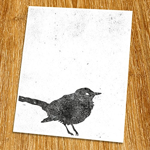 (Geometric Art Print (Unframed), Retro Art, Abstract Art Poster, Mid-century Art, Cafe, Industrial, Loft, Bird Wall Art, Crow, Black and White, 8x10
