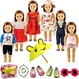 "Holicolor 13pcs American Girl Doll Clothes Dress Outfits Wardrobe Makeover, Including 6 Complete Outfits, Fits 18"" Doll Clothes (13pcs) (multi) (multi)"