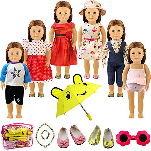 Holicolor 13pcs American Girl Doll Clothes Dress Outfits Wardrobe Makeover, Including 6 Complete Outfits, Fits 18'' Doll Clothes (13PCS) by Holicolor