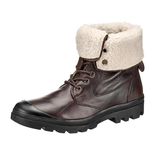 Hush Puppies de hombre de invierno botas piel con cálido Forro Color Marrón Oscuro, color Marrón, talla 45 UE: Amazon.es: Zapatos y complementos