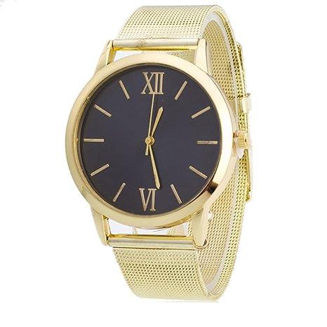 Relojes para Mujer,Winkey Mujer Mujer Plata Acero Inoxidable Banda de malla reloj de pulsera dorado