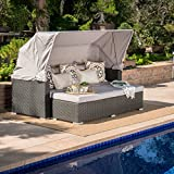 GDF Studio Grayson Outdoor Aluminum Framed Wicker Sofa with Water Resistant Canopy and Cushions (Grey/Silver)