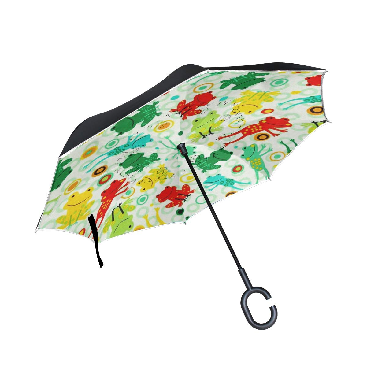 DOPKEEP Jump Into Fun Frogs Summer Double Layer Inverted Umbrella Cars Reverse Umbrella,UV Protection Windproof Large Straight Umbrella for Car Rain Outdoor with C-Shaped Handle