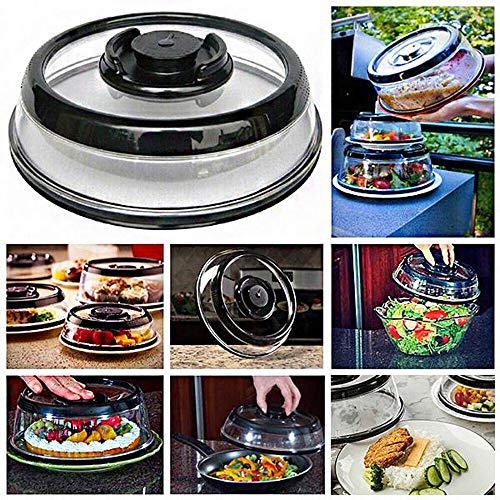 Air-Tight Food Vacuum Cover,Universal Sealer Fresh Food Cover Tool, Kitchen Instant Mintiml Cover, Food Sealer Container Plate Platter Lid Cover Topper Dome (Black) (Best Vacuum Sealer 2019)