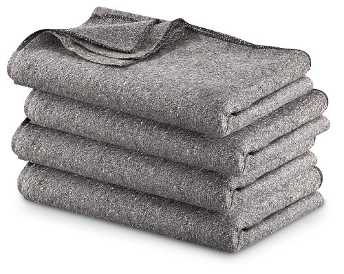 Military Style Wool Blend Blankets, 4 Pack, 60