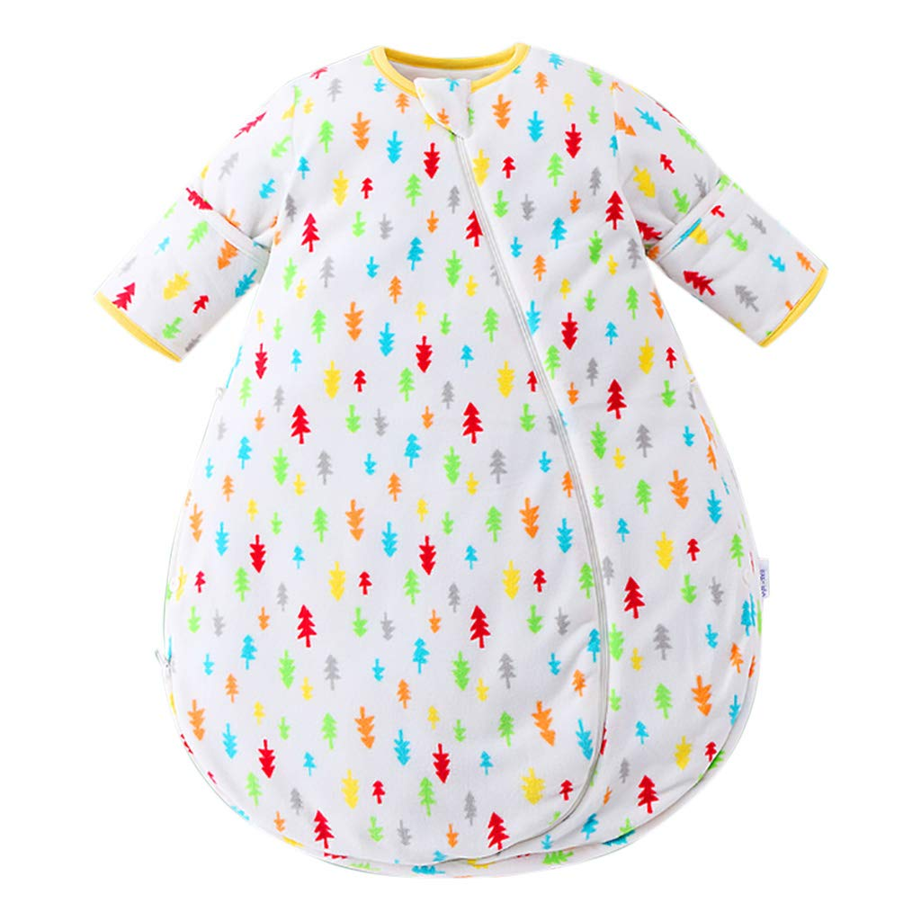 HUYP 赤ちゃん寝袋縫製パターン新生児取り外し可能な袖ユニセックス子供アンチキック男の子女の子 (色 : White D-quilted, サイズ さいず : 80 yards)   B07NV8RSTH