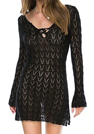 Fllay Womens Sexy Deep V-Neck Lace Hollow Out Loose Party Mini Dress Black  US 7f620ae9e