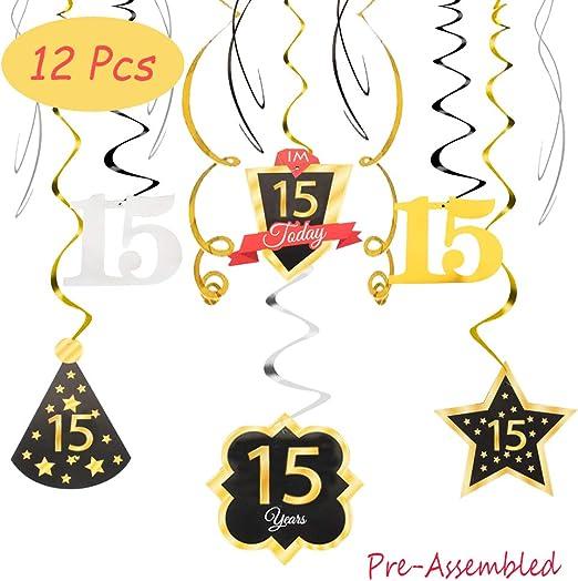 Amazon.com: 15 cumpleaños decoración feliz 15 cumpleaños ...