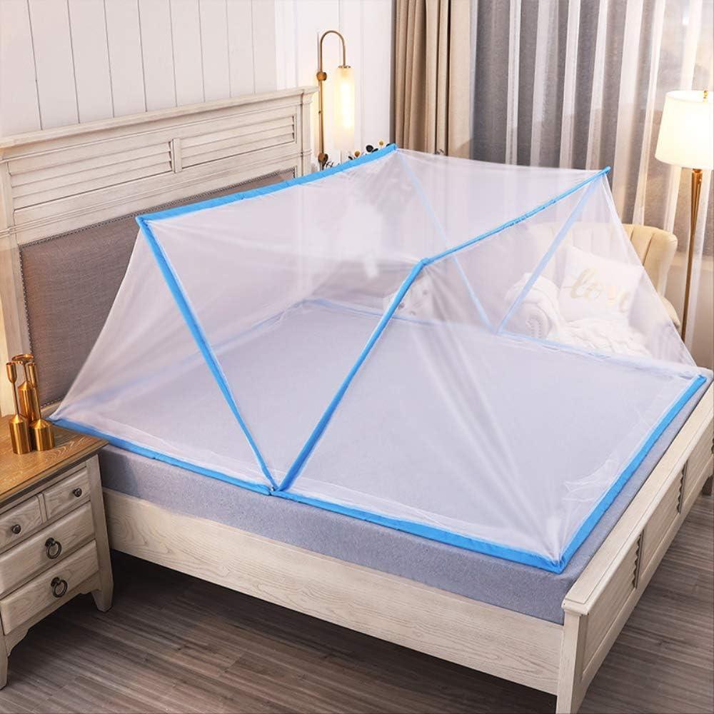 Couverture Anti-Moustique Portable Lit Pour Enfants Adultes Moustiquaire De Rangement Pliable/60 * 130Cm/ Lit Enfants Bord Bleu Blanc