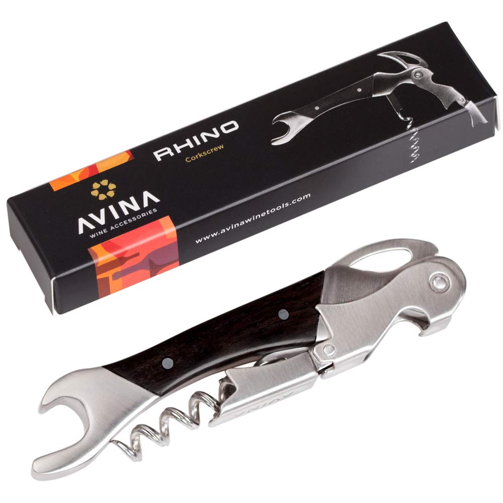 Corkscrew Wine Opener - Stainless Steel And Ebony Waiters Key With 2-Step Fulcrum, Slotted Worm, Serrated Foil Cutter And Bottle Top Remover - Rhino Style AVINA Wine Accessories AV1614