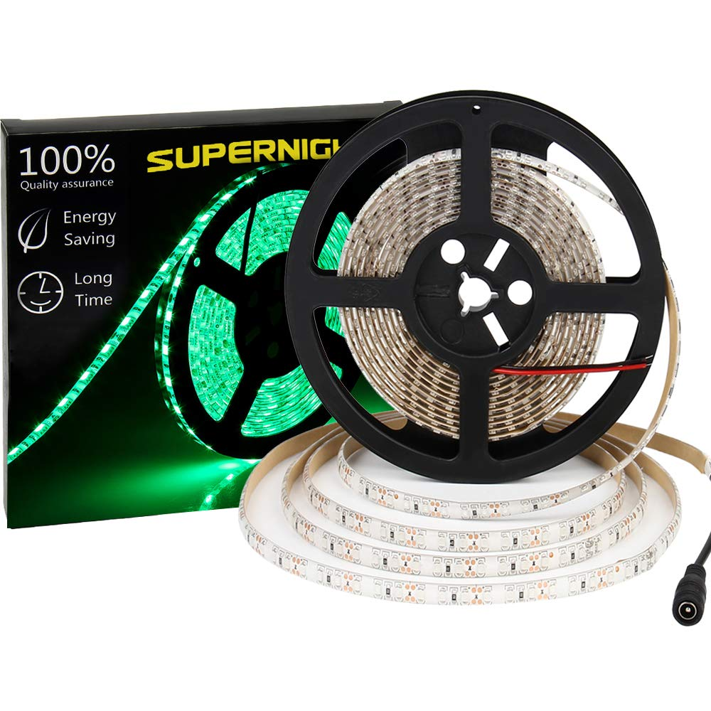 600 LEDS Light Strip Waterproof, SUPERNIGHT 16.4FT Green LED Rope Lighting Flexible Tape Decorate for Bedroom Boat