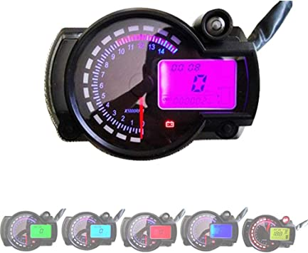 Hjjh 7 Farbe Digital 14000 Rpm Atv Quad Raserei Motorrad Tacho 12 V Motorrad Lcd Digitales Instrument Montage Modifizierte Öl Messgerät Multifunktions Sport Freizeit