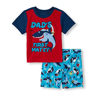 The Children s Place Baby And Toddler Boys Short Sleeve  Dad s First Matey  Shark  Graphic Top And Marine Animal Print Shorts Pajama Set 0ea5115fd