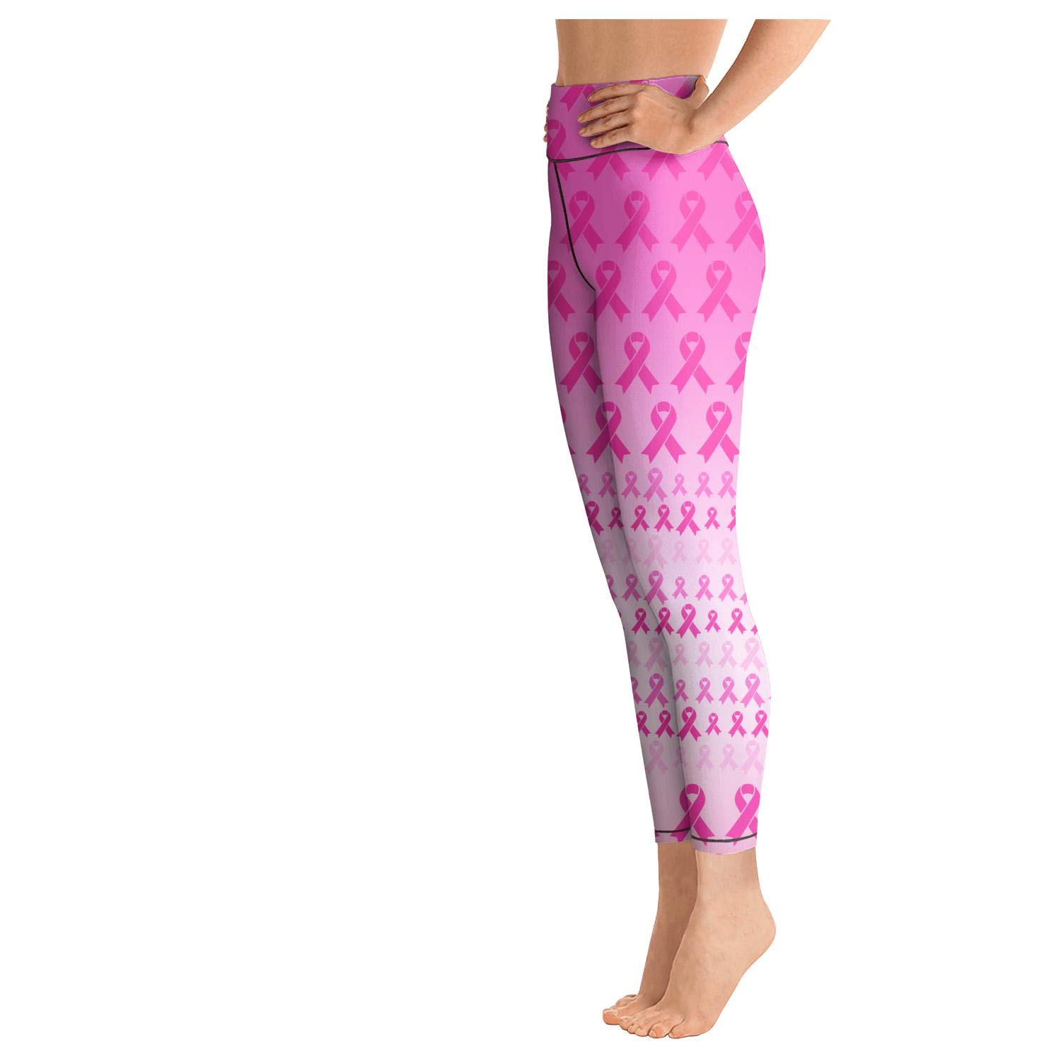 DEGYTY5H4 Pink Purple Breast Cancer Yoga Pants High Waisted Cool Legging for Womens Plus Size