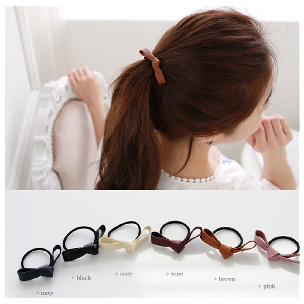Lovef 6 Pcs Simple Korean Elastic Double Knotted Bows Rubber Band Elastic  Head Tie Hair Band 65dd7fb7ea5