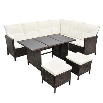 vidaXL Poly Rattan Gartenmöbel 8 Personen Braun Lounge Set Essgruppe ...