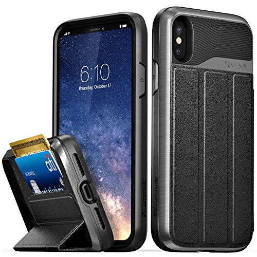 iPhone X Wallet Case, Vena [vCommute][Military Grade Drop Protection] Flip Leather Cover Card Slot Holder with KickStand for Apple iPhone X / 10 (Space Gray / Black)
