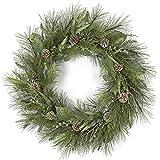 SilksAreForever 30' Artificial Mixed Pine, Bay Leaf, Juniper, Cedar & Pinecone Hanging Wreath -Green/Brown