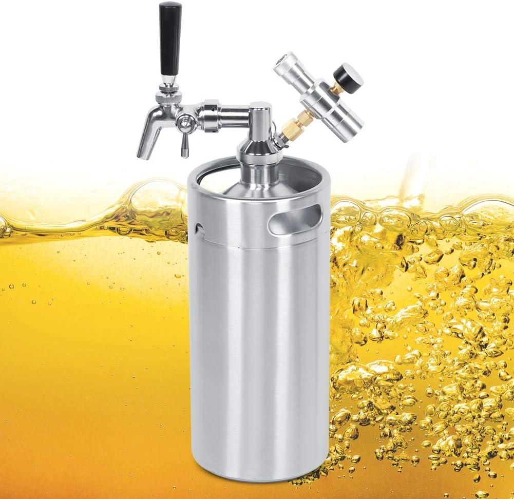 Barril de cerveza, grifo ajustable de acero inoxidable 3.6L Barril de cerveza Barril Barril 2 Clase Manómetro de presión Equipo de elaboración de cerveza para almacenar y distribuir cerveza, té y café