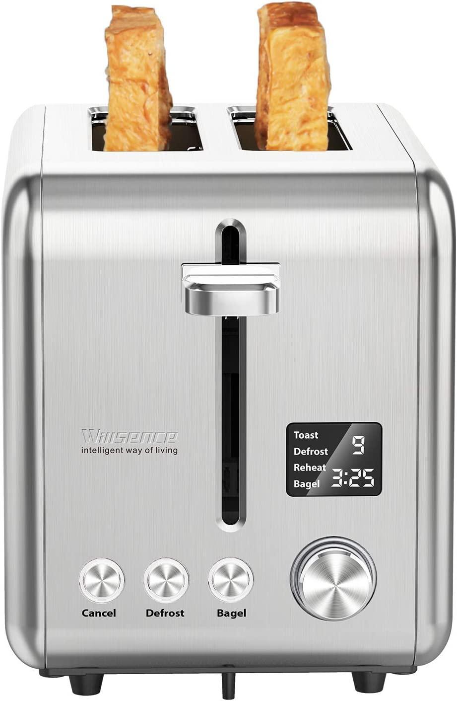 Willsence 2 Slice Toaster Stainless Steel with Digital LCD Display, 9 Bread Shade Settings and 6 Pre-set programs Bagel Defrost Reheat Cancel Function, Extra Wide Slots, Removable Crumb Tray, 900W Silver