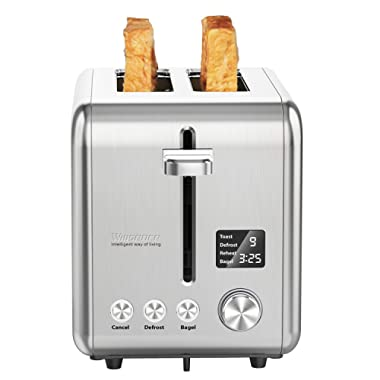 Willsence 2 Slice Toaster Stainless Steel with Digital LCD Display, 9 Bread Shade Settings and 6 Pre-set programs,Bagel/Defrost/Reheat/Cancel Function, Extra Wide Slots, Removable Crumb Tray, 900W Silver