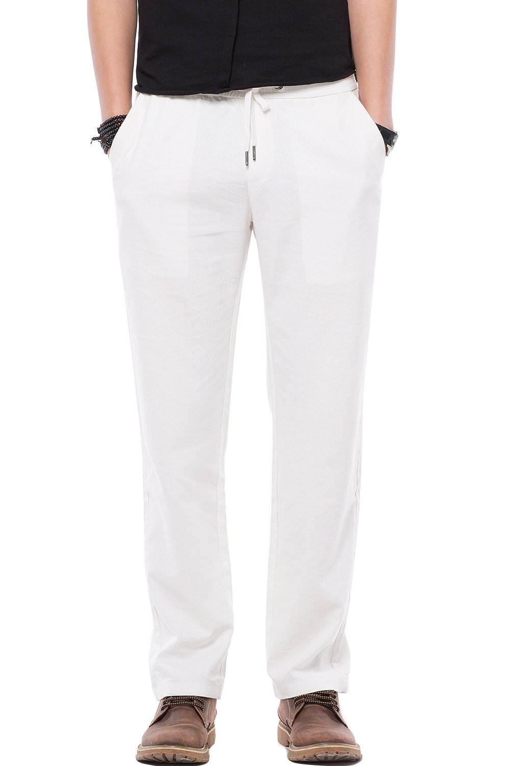 Lightweight Comfy Straight Fit Pants for Mens Lightweight Casual Slack for Youth Junior Off-White US Size M