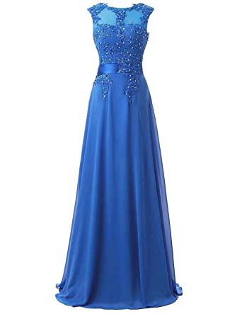 YY Womens Cheap Lace Beading Prom Dresses Long Chiffon Celebrity Bridesmaid Gown YY006