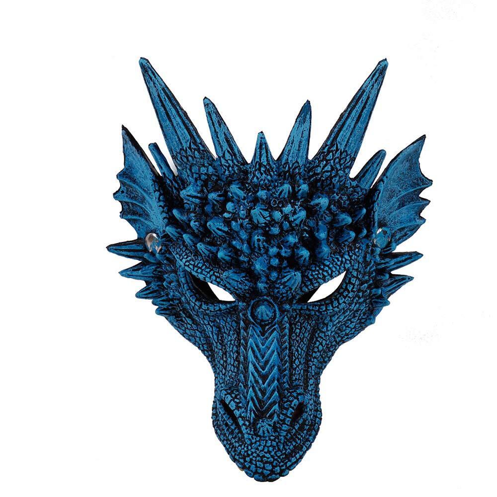 blau, M BaronHong Supersoft Fantasy Drache Halbes Gesicht Halloween Karneval Maske