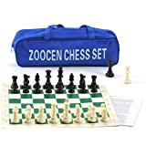 ZOOCEN Chess Set - Plastic Chess Pieces and Green Roll-Up Vinyl Chess Board Foldable Chess Game (with Extra Queen)