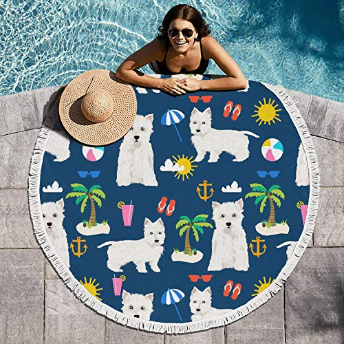 cuyde Round Beach Towel Blanket Westie Dogs On Beach Palm Roundie Beach Throw Tapestry Mandala Microfiber Beach Tassels Super Water Absorbent Round Beach Blanket
